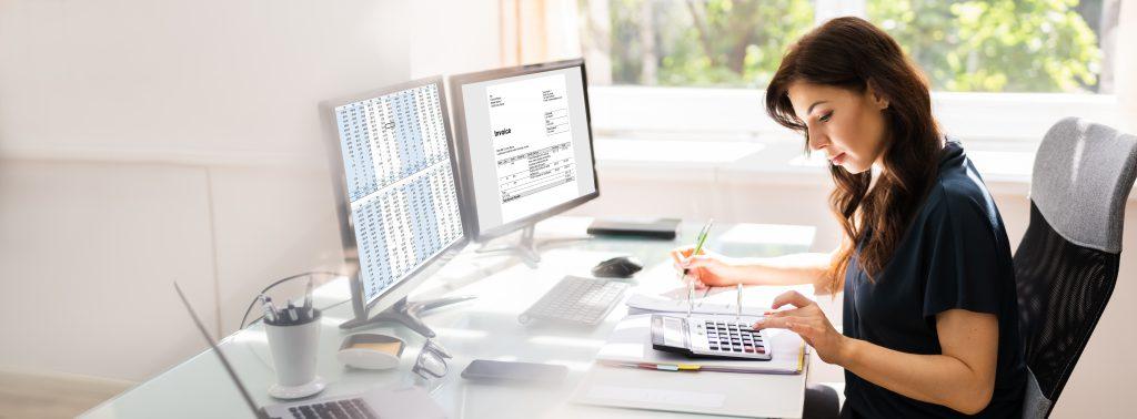 bigstock Accountant Using E Invoice Sof 374566864
